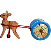 German Toy Fawn  with Cart and Bell ca. 1945-1949 US Zone