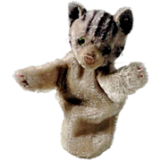 Sad Little Tabby Cat Hand Puppet  from Steiff