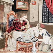 Beautiful Embroidery Lady and her Maidservant Berliner Woolwork