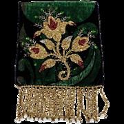 Embroidery Fragment on Velvet  Beadwork Flowers   Late 19th Century
