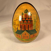 Russian Hand Painted Wooden Egg ca. 1950