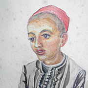 Water Color  Young Boy ca. 1880