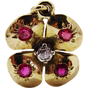 Antique Diamond Ruby 10K Yellow Gold Clover Pendant Fine Precious