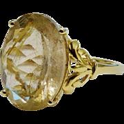 SALE Radiant Rutilated Quartz 10K YG Ring Fine Vintage