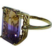 Ametrine 10K Yellow Gold Ring Fine Dinner Ring Vintage 12 Carat