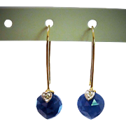 Pretty Diamond Sapphire 10K YG Heart Drop Earrings Fine