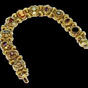Gorgeous Gemstone 10K YG Slide Bracelet Fine Vintage