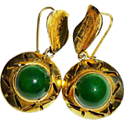 Attractive 10K Yellow Gold Green Cabochon Dangle Earrings Fine Vintage