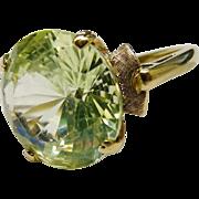 Dynamic Lemon Quartz 10K Yellow Gold Solitaire Ring Fine Retro