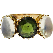 Victorian Moonstone Green Tourmaline 10K Rose Gold 3 Stone Ring Fine