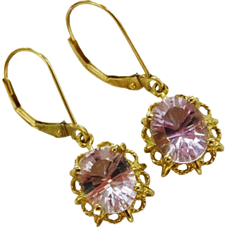 Morganite 10K Yellow Gold Drop Earrings Fine Gorgeous