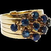 Pretty Sapphire 10K YG Five Band Ring Fine Vintage