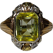 Very Nice 3 Gold Diamond Canary Sapphire Ring Vintage Fine