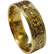REDUCED!  Victorian 12K Gold Leaf Band Ring Fine Hand Chased Wedding Band