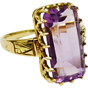 Charming Antique Amethyst 14K Yellow Gold Ring Fine Victorian
