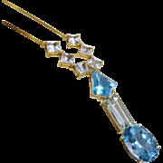 Dazzling Aquamarine Blue Topaz 14K Yellow Gold Necklace Fine Cascading Drop