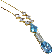 Dazzling Aquamarine Blue Topaz 14K Yellow Gold Necklace Fine Cascading Drop