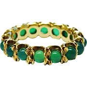 Gorgeous Chrysoprase Cabochon 14K Gold Eternity Band Fine Vintage