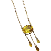 Exquisite Edwardian 14K YG Citrine Seed Pearl Lavaliere Necklace Fine Antique