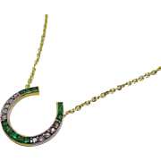 Victorian Diamond Emerald 14K Yellow Gold Horse Shoe Pendant with Chain Necklace Fine Antique