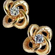 Diamond 14K Yellow Gold Love Knot Earrings Fine Vintage