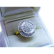 Diamond Pave 14K Yellow White Gold Ring Fine Exquisite