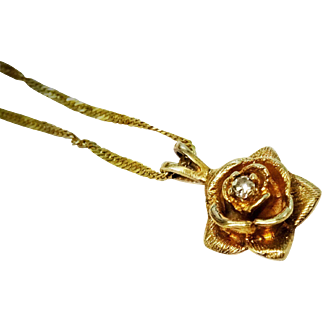 Pretty Rose Diamond 14K Yellow Gold Pendant Chain Necklace Fine Vintage