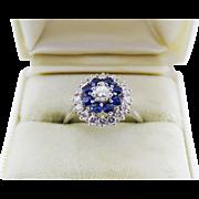 Elegant Diamond Sapphire Halo 14K White Gold Ring Fine Estate
