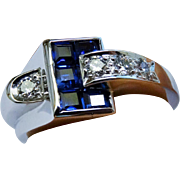 Diamond Sapphire Ring Buckle Ring Art Deco Retro Fine