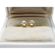 Classic Diamond 14K Yellow Gold Stud Earrings Fine