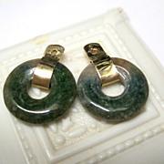 14K Yellow Gold Nephrite Jade Earring Jackets Fine
