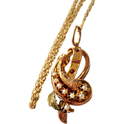 Victorian 14K Gold Seed Pearl Pendant Necklace Ornate Fine Lovely