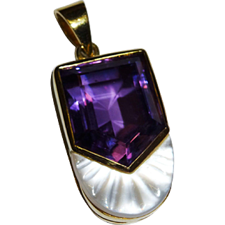 Gorgeous Estate Amethyst Mother of Pearl 14K Yellow Gold Pendant Fine