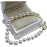Pretty Cultured Pearl 14K Yellow Gold Bracelet Fine Estate