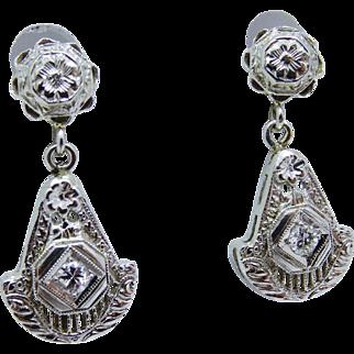 Gorgeous Art Deco Diamond 14K White Gold Filigree Dangle Earrings Fine