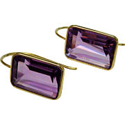Lovely 14K YG Amethyst Drop Earrings Emerald Cut Fine Estate