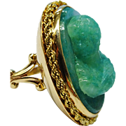 Outstanding HUGE Aventurine 14K Gold Carved Cameo Ring Fine Vintage OOAK