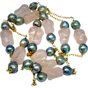"Lovely Blue Cultured Pearl Pink Quartz Bead 14K Yellow Gold Necklace Fine 24"" Vintage"