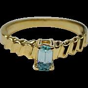 Dainty 14K YG Blue Topaz Emerald-Cut Ring Stacking Fine Estate