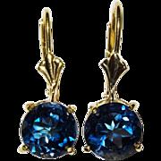 London Blue Topaz 14K Yellow Gold Drop Earrings Fine Vintage