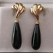 14K Yellow Gold Black Onyx Tear-Drop Dangle Earrings Fine