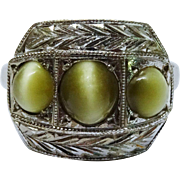 Art Deco Cat's Eye Chrysoberyl 14K White Gold Chased three Stone Ring Fine
