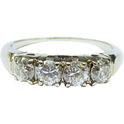 Exquisite Diamond 14K White Gold Ring Four Stone 1 ctw Fine Vintage