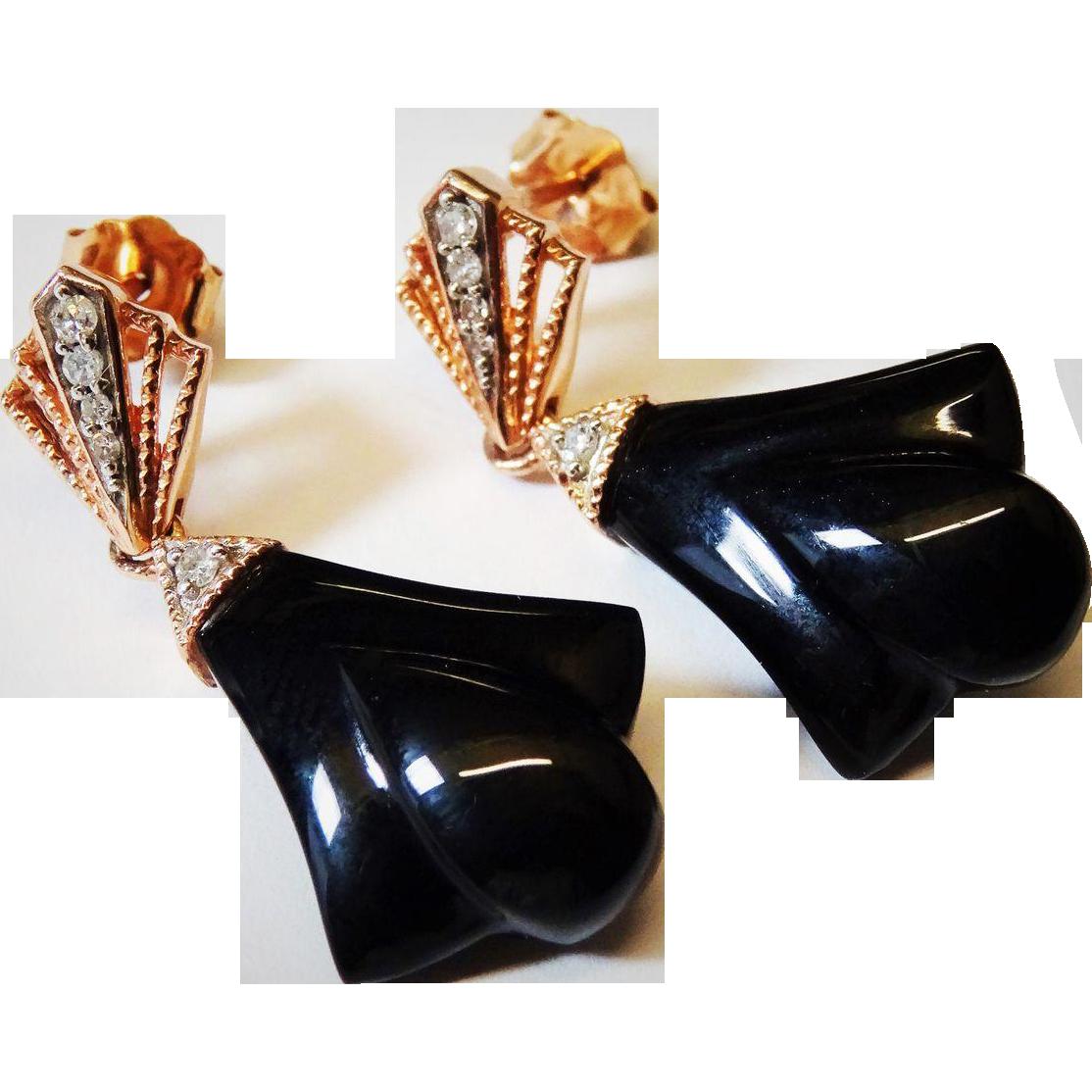 Elegant 14k Rose Gold Diamond Black Onyx Drop Earrings
