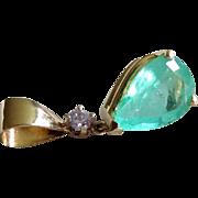 Divine Colombian Emerald Diamond 14K Yellow Gold Pendant Fine