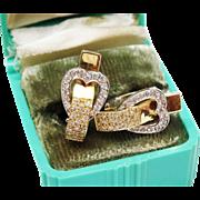 Exquisite Diamond Gold Heart Earrings Huggie Fine