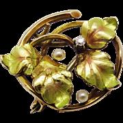 Edwardian Diamond Seed Pearl 14 K Yellow Gold Enamel Pin Aesthetic Fine