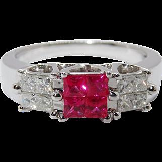 Exquisite Diamond Ruby 14K White Gold Ring Fine Estate