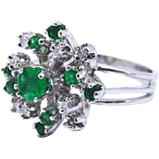 Diamond Emerald 14K White Gold Snowflake Cluster Ring Fine Vintage