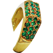 Awesome 18K Yellow Gold Emerald Pave Ring Modernist Fine